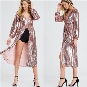 MAJOR COMPLIMENTS Sequin Long Duster Top